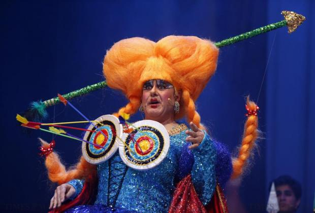 "Actor Edward Mercieca plays the dame, Nurse Bambolina, in FM Production's pantomime ""Robin Hood and the Babes in the Woods"" at the Manoel Theatre in Valletta on December 21. Photo: Darrin Zammit Lupi"