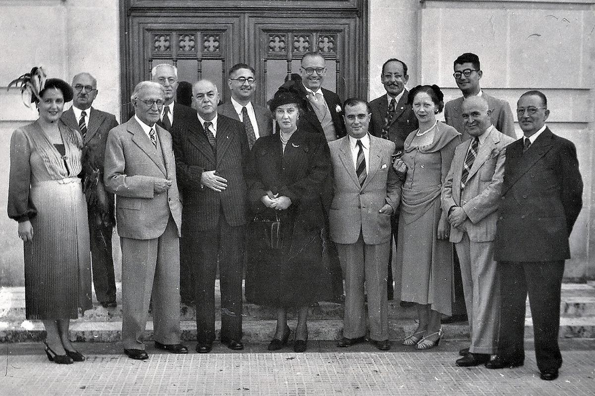 Some of the former exiles hosting Mizzi on his election as prime minister in 1950. The author's father is in the front row, second from right. Photo courtesy of the Fortunato and Enrico Mizzi Foundation