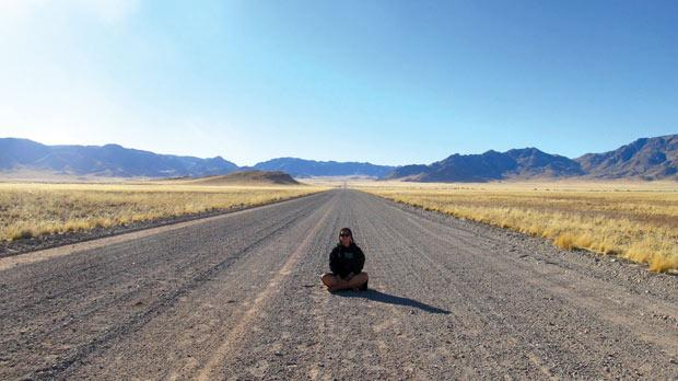 The author in the middle of nowhere, Namibia. Hannah Wayte blogs at www.hannahandtheworld.com
