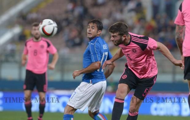Scotland's Grant Hanley heads the ball during the International friendly football match against Italy at the National Stadium in Ta' Qali on May 29. Photo: Matthew Mirabelli