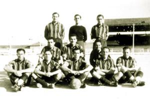 Joseph Spiteri, Iz-Zabu (standing, centre), is seen in this picture wearing the goalkeeper`s jersey of the Coast Guards RMA in 1945.