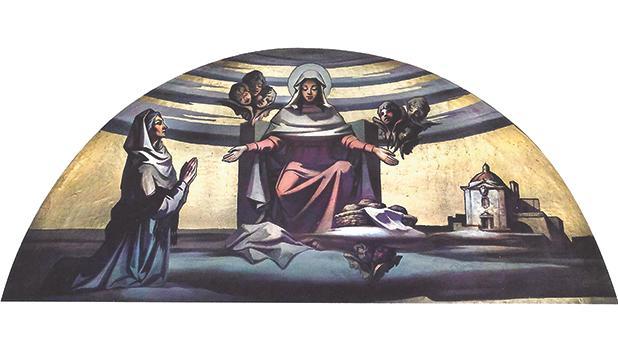 The fresco depicting Ġerolama Ciantar by Emvin Cremona on the exterior dome of the oratory. Photo: Daniel Cilia