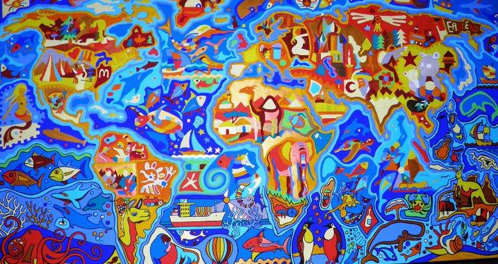A joyful colourful interpretation of our planet by Clemens.