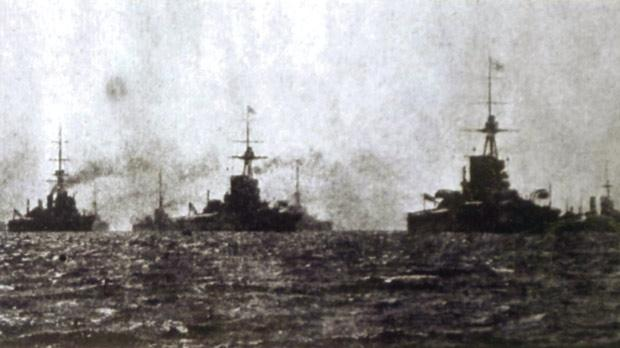 English dreadnoughts in battle line.