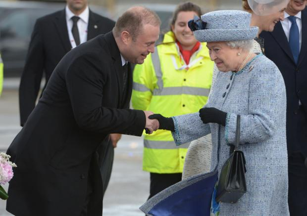 Prime Minister Joseph Muscat welcoming the Queen to Malta in November 2015. Photo: Matthew Mirabelli