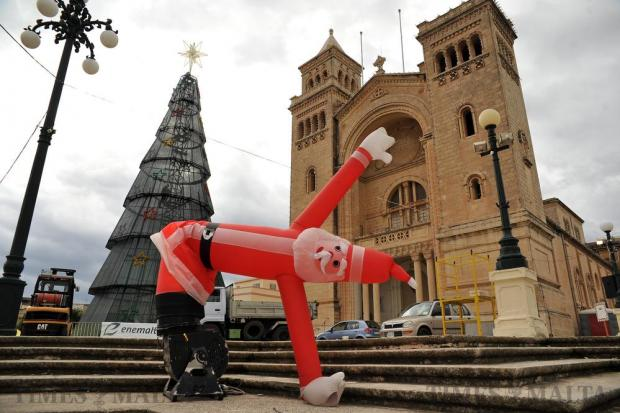 An inflatable Father Christmas is seen at the Christmas village in Birzebbugia on December 3. Photo: Chris Sant Fournier