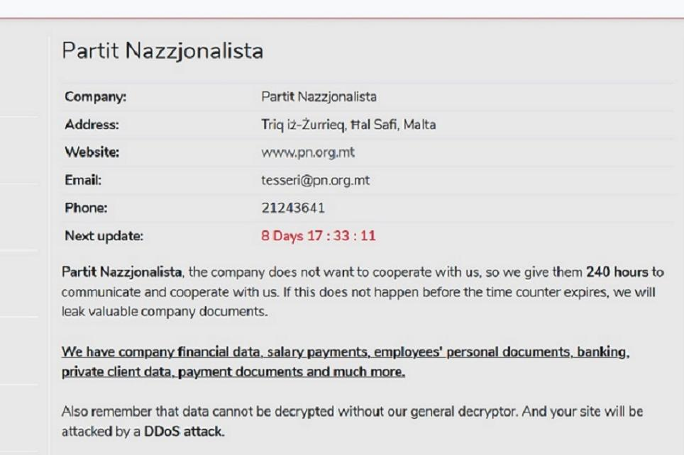 Screenshot of avaddon ransomeware website which carries sensitive PN documents