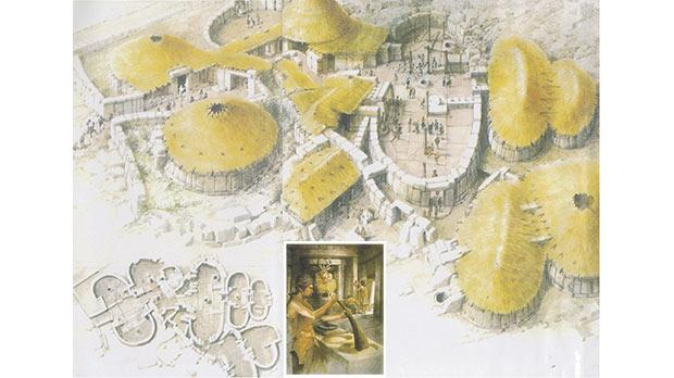 An imaginary view of the huge Tarxien Neolithic Temples Complex under construction c. 4,500-4,000 BC. Inset: An artist's impression of a neolithic man grinding corn at a communal quern in the shadow of a megalithic statue.