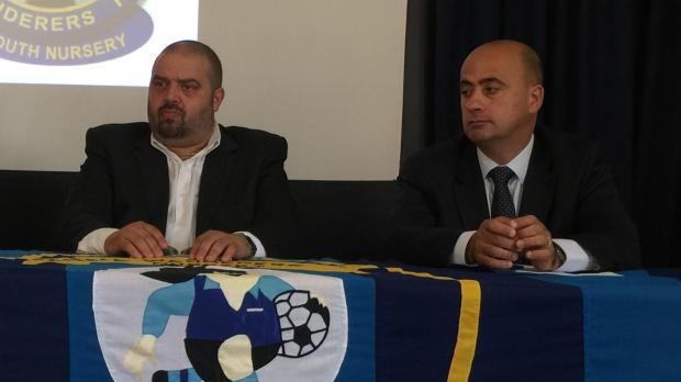 Sliema coach Stephen Azzopardi (right) with president Keith Perry.