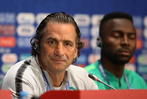 Saudi Arabia coach Juan Antonio Pizzi and Osama Hawsawi during the press conference.