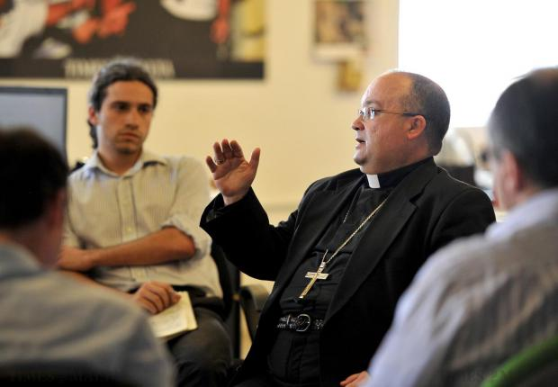 Archbishop Charles Scicluna takes part in a Q&A session with Times of Malta journalists as part of his day as editor on May 7. Photo: Chris Sant Fournier
