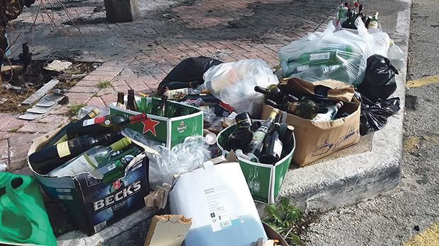 There is nowhere to throw away glass bottles after the bring-in site was vandalised.