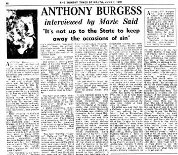A June 7, 1970 interview in The Sunday Times of Malta set the stage for his famous lecture. Image: Times of Malta digital archive