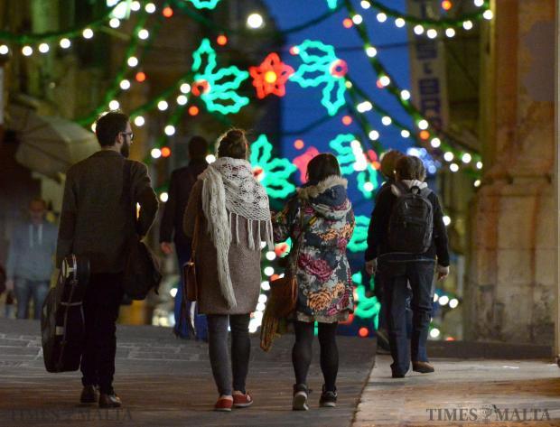 The Christmas lights in Melita Street on December 3.Photo: Matthew Mirabelli