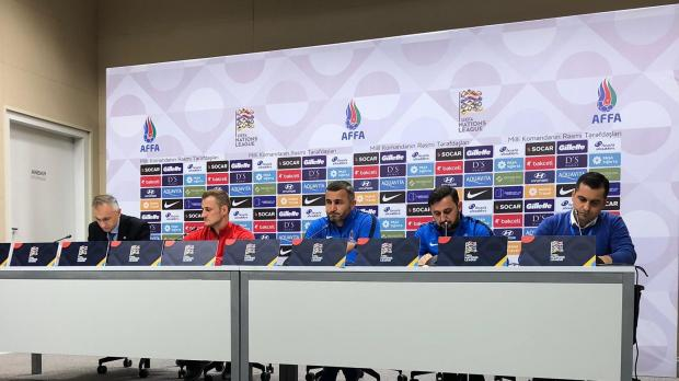 Azerbaijan's captain Maksim Medvedev (second from left) speaking at the press conference, at the Baku Olympic Stadium. Photo: Gianluca Lia