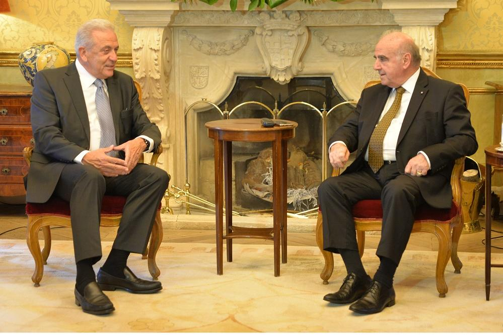 President George Vella meets European Commisioner for Migration and Home Affairs Dimitris Avramopoulos.