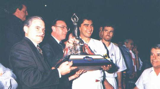 Kris Laferla with the Rothmans FA Trophy won by Valletta FC in 1995.