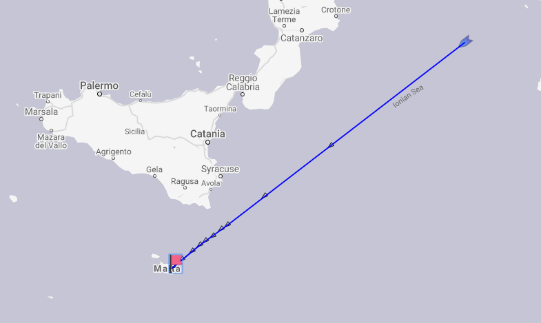 The previously planned route of the MSC Opera, according to ship tracker Marine Traffic.