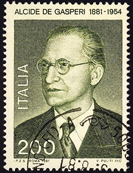 A stamp printed in Italy shows Alcide de Gasperi (1881-1954), Italian statesman and politician, founder of the Christian Democracy Party. Photo: svic/Shutterstock.com
