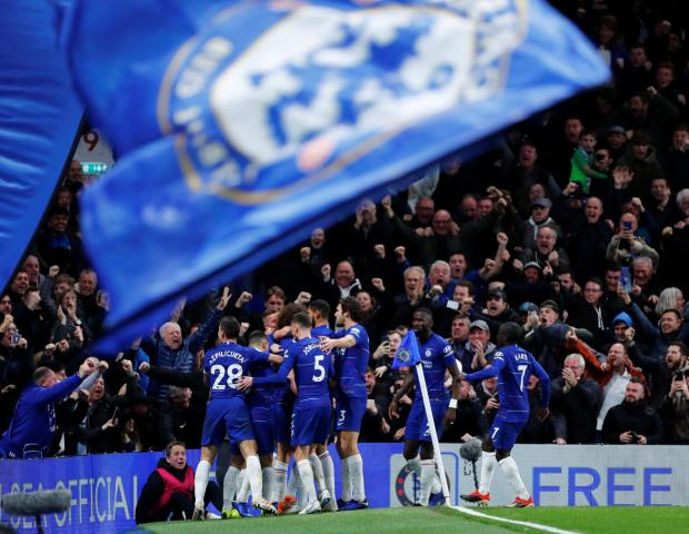 Chelsea's David Luiz celebrates scoring their second goal with team mates