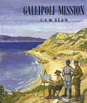 Walter Beaumont's cover design for the Gallipoli mission, 1947. The figures on the right are George Lambert (seated and painting the scene), Turkish officer Zeki Bey and official war correspondent Charles Bean. Photo: Australian War Memorial