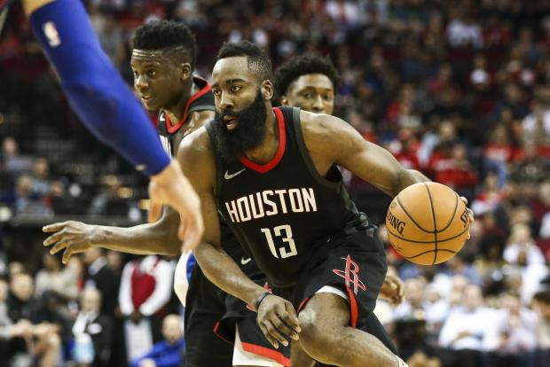 Houston Rockets guard James Harden (13) dribbles the ball during the second quarter against the Detroit Pistons at Toyota Center. Photo Credit: Troy Taormina-USA TODAY Sports