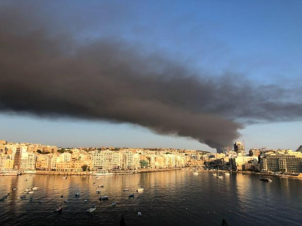 The fire as seen from Sliema.