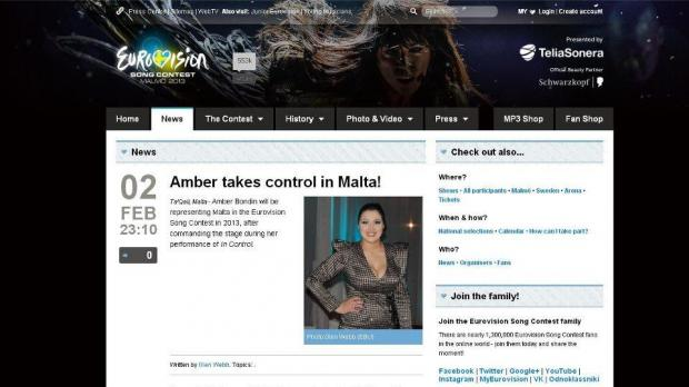 A screenshot of the eurovision.tv website just before the story that Amber won was removed.
