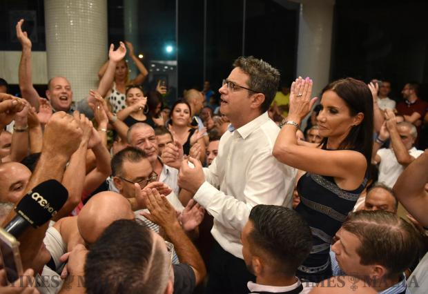 Nationalist Party leader candidate Adrian Delia and his wife address supporters moments after he was elected to the next round on September 02. Photo Mark Zammit Cordina