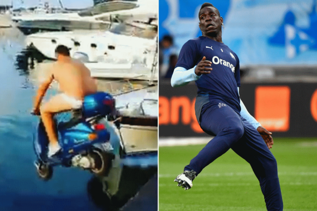 Watch: Mario Balotelli pays man €2,000 to drive scooter into the sea