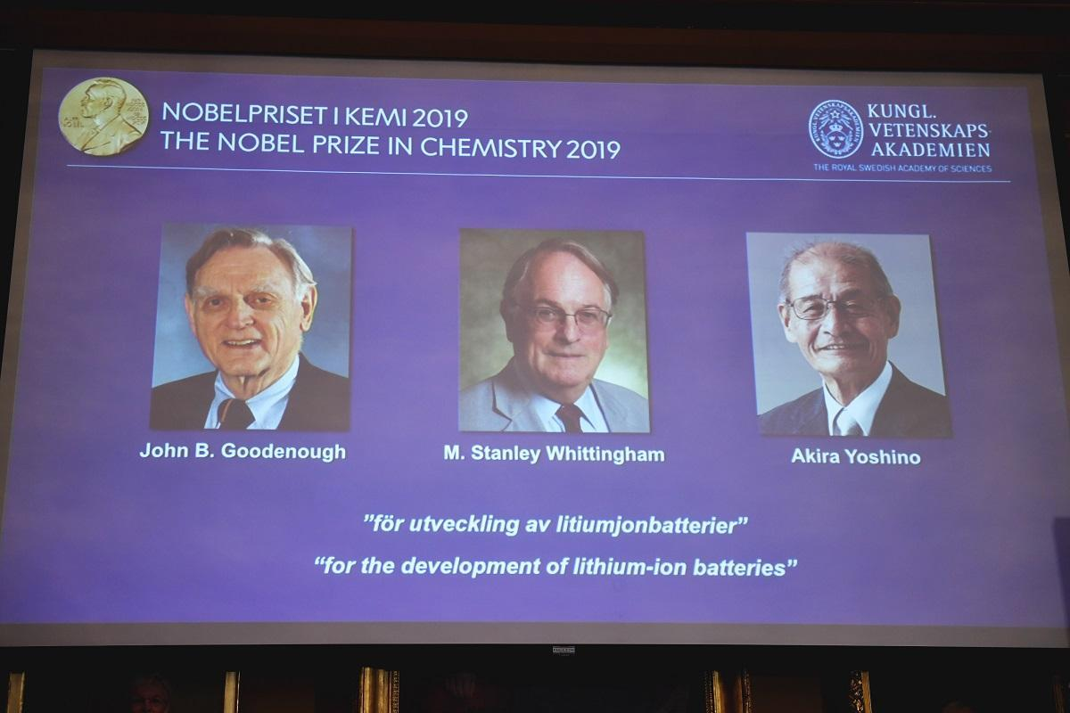 The three researchers who shared the 2019 Nobel Prize for chemistry. Photo: AFP