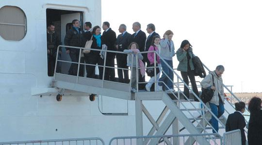 The first passengers crossing by sea from Malta under new Schengen rules arrive in Pozzallo yesterday. Photo: DOI