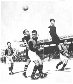 Sammy Nicholl (right) and his uncle Tony Nicholl (no.9 shirt) in a raid inside the Ħamrun Spartans box during a league match way back in the 1950s.