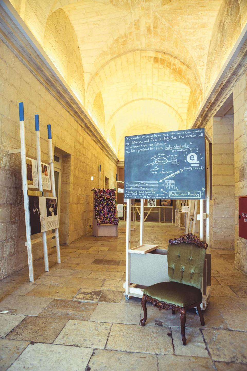 The Lady's Chair by Kristina Borg (right) and information relating to some of the first women who attended the University of Malta (left).