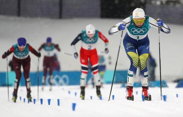 Stina Nilsson on her way to victory in the sprint race.