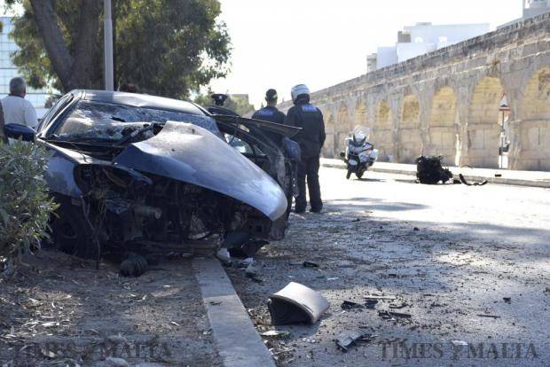 A 21-year-old man was rushed to hospital following a car crash on 14 June in Mrieħel. This Impact was so strong that the engine was thrown out of the car. Photo: Mark Zammit Cordina