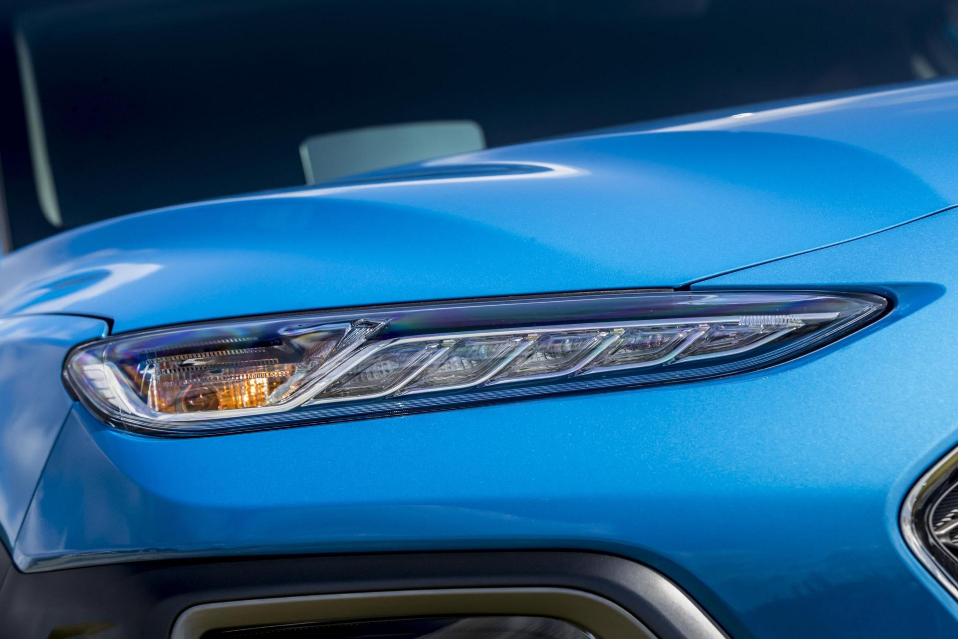The Kona's sleek headlights give the front of the car a distinctive look.
