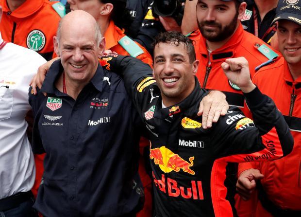 Red Bull's Daniel Ricciardo celebrates winning the race.