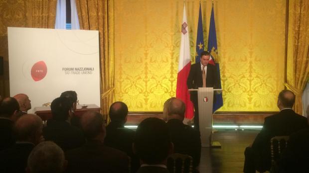 Centre for Labour Studies director Manuel Debono speaking at the launch. Photo: Mark Zammit Cordina