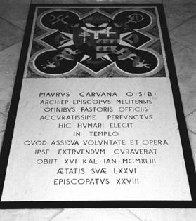 The epitaph inscribed on the marble slab which seals Caruana's tomb at St Gregory's parish church, Sliema.