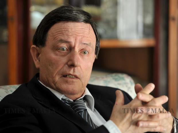 Former Prime Minister Alfred Sant reacts to a question while being interviewed by the Sunday Times of Malta on May 27. Photo: Chris Sant Fournier