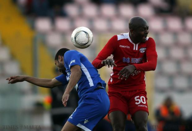 Pieta Hotspurs' Gabriel Da Silva (left) and Balzan's Ice Cream Guobadia jump for a high ball during their Premier League football match at the National Stadium in Ta' Qali on April 6. Photo: Darrin Zammit Lupi