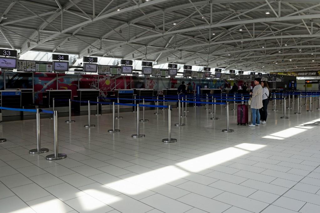 An empty Larnaca International Airport. Photo: AFP