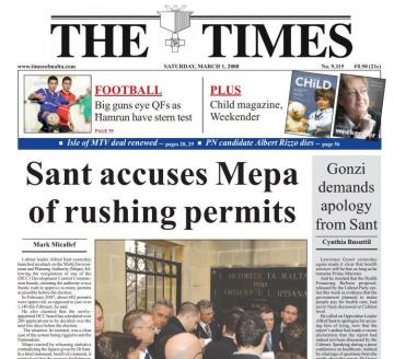 Times of Malta front page 10 years ago.