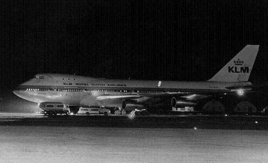 The hijacked KLM jumbo jet at Luqa airpport in 1973. Picture courtesy of Godfrey Mangion.