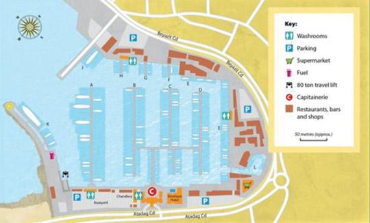 Layout of Cesme Marina in Turkey