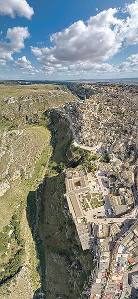 An aerial photo of Matera, in the Basilicata region in southern Italy. The old city is the European Capital of Culture 2019.