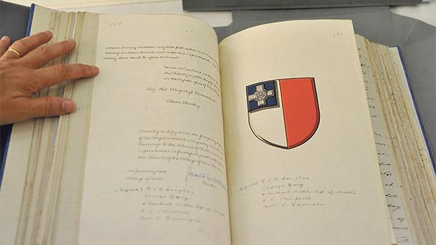 Drawn up by Carmelo Farrugia, Chief Notary to Government, in 1947, this document says that King George VI grants permission for a representation of the George Cross to be depicted in a blue box on the official Maltese flag. This drawing is attached to a contract between Governor and Commander-in-Chief of Malta Francis Campbell Ross Douglas and Chief Justice George Borg. This is one of the restored documents at the Notarial Archives in Valletta, but there are thousands more in need of restoration. Photos: Chris Sant Fournier