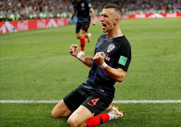 Croatia's Ivan Perisic celebrates his goal against England.