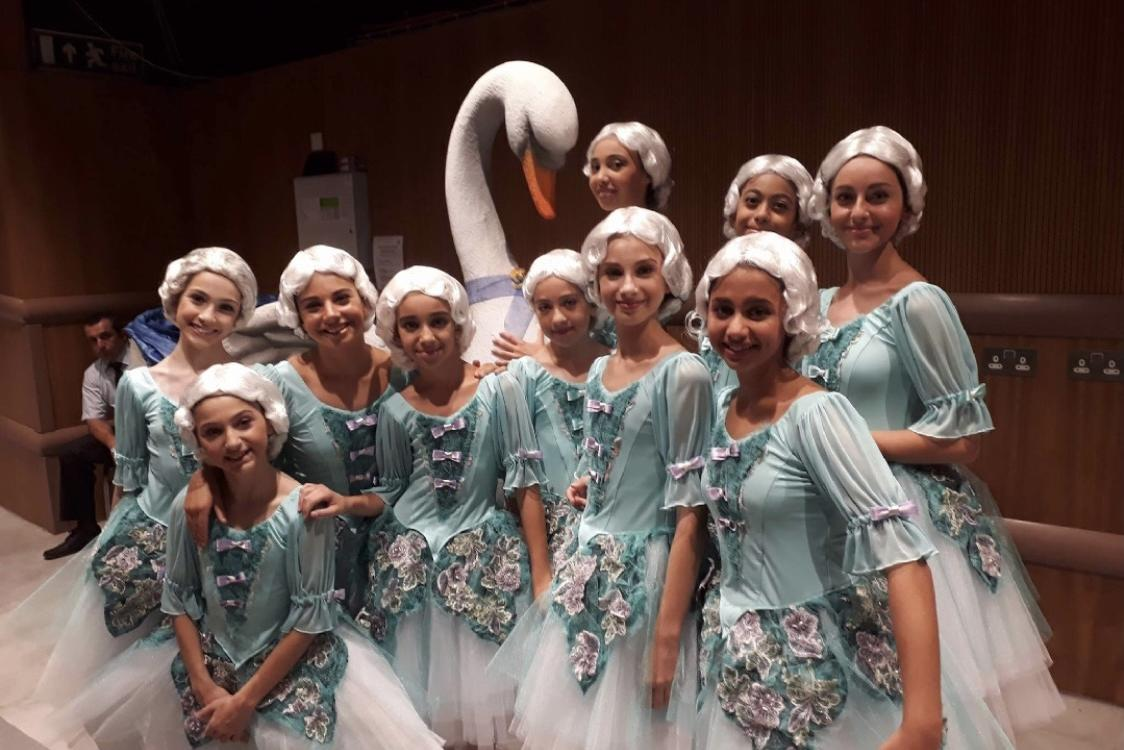 Brigitte Gauci Borda School of Dance students in costume for the performance of the Crystal Palace ballet in 2017, MCC